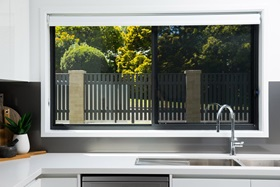 Protec sliding security screen window in kitchen